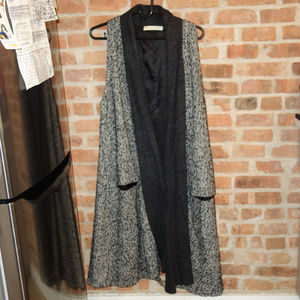 Vintage Grey and Black Long Wool Vest with Pockets